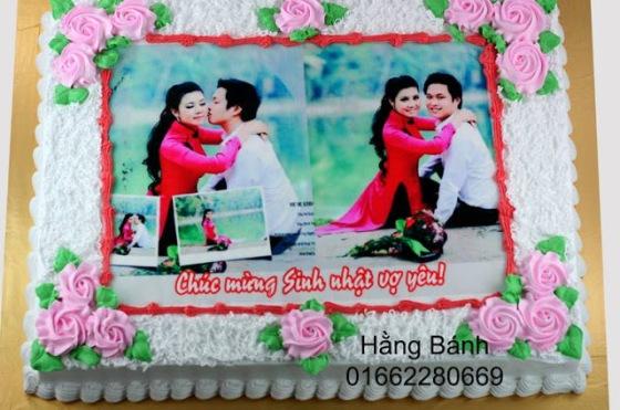 Bánh sinh nhật in ảnh tặng vợ