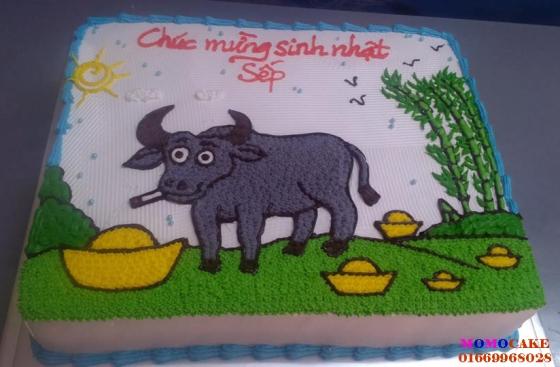 Bánh sinh nhật hình con trâu