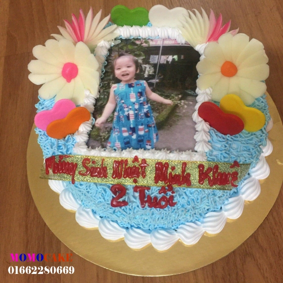 Bánh sinh nhật in ảnh cho bé 2 tuổi